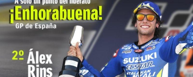 Álex Rins, podio en Jerez y ya es segundo en el Mundial